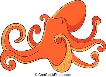Octopus icon, cartoon style