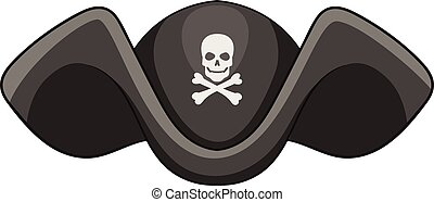 Piracy hat icon, cartoon style - Piracy hat icon. Cartoon...