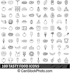 100 tasty food icons set, outline style
