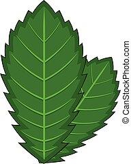 Elm leaf icon, cartoon style - Elm leaf icon. Cartoon...
