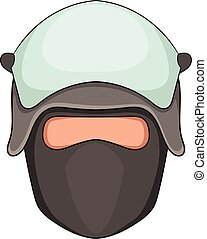 Policeman head in a face mask icon, cartoon style -...