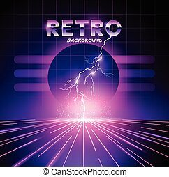Retro 1980's Lightning Background - Retro 1980's neon...