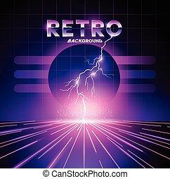 Retro 1980's Lightning Background - Retro 1980's neon...