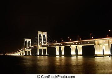 Bright bridge in dark night, cityscape of Macao in China.