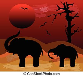 Elephants black silhouettes in evening Africa desert. Sinking red sun over a sandy landscape with dead tree