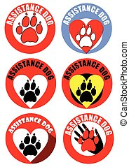 Set of assistant dog emblems and sticker. Motif of dog track, heart, human hand. Distinctive collection in vivid colors.