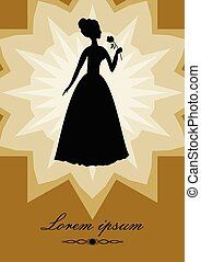 Black lady with rose, silhouette on gold background star...