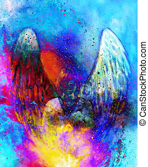 Spiritual Angel in cosmic space. Painting and graphic...