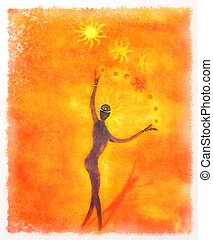Spiritual beings and light circle. Painting and graphic effect.