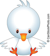 Duck vector - illustration of isolated cartoon duck on white...