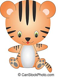 Tiger vector - illustration of isolated cartoon tiger on...