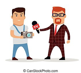Media Workers Characters Vector Illustration - Media workers...
