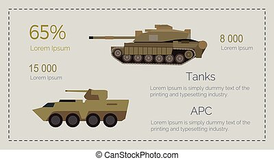 Armored Tank Forces Flat Style Vector Infographics - Armored...