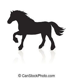 Horse Vector Illustration in Flat Design - Running black...