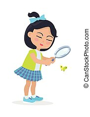 Girl Looking at Butterfly through Magnifying Glass - Girl...