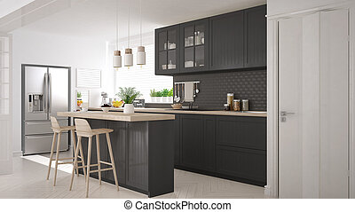 Scandinavian classic kitchen with wooden and gray details,...