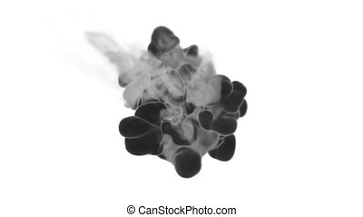 Abstract black Ink or smoke background with alpha mask. VFX Cloud of Ink for transitions, background, overlay and effects. For alpha channel use alpha matte. 3d render Ver 20