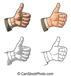 Hand showing symbol Like. Making thumb up gesture. Hand...
