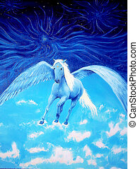 Pegasus in cosmic space. Painting and graphic design.