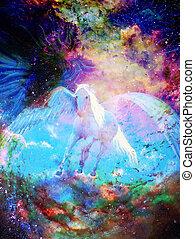 gráfico, cósmico, espaço,  pegasus, quadro, desenho