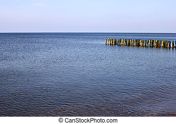 Old german breakwater on the Baltic Sea coast.