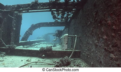 Bort of sunken ship on the seabed Salem Express underwater...