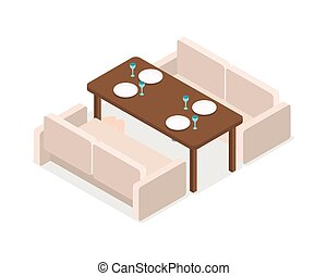 Restaurant. Inteior. Laid Table and Two Sofas - Restaurant....