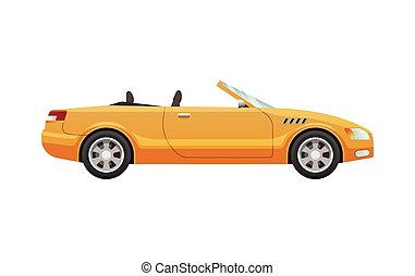 Transport. Picture of Isolated Yellow Cabriolet - Transport....