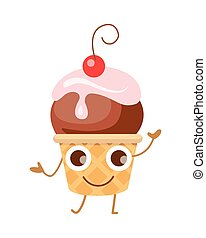 Ball of Ice Cream in Cone. Funny Cartoon Character - Ball of...