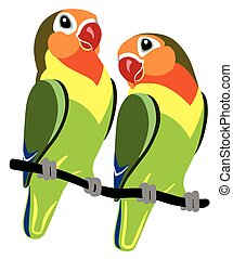 cartoon lovebirds - pair of cartoon parrots Fischer...