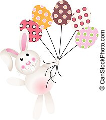 Bunny flying with Easter eggs