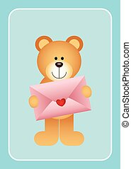 Teddy bear holding love envelope