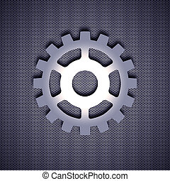Cogwheel symbol with 3d effect, symbol isolated on metal...