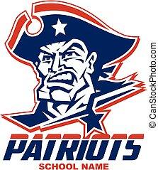 patriots mascot head - heroic patriots mascot team design...