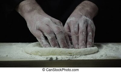 Super slow mo chef stretches the dough - Super slow mo chef...