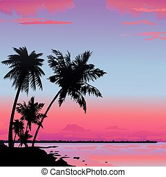 Jungle - Silhouette of the jungle on the ocean background...