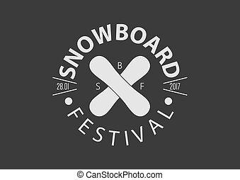 Snowboard vintage round logo