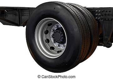 Wheel with truck tire on chassis