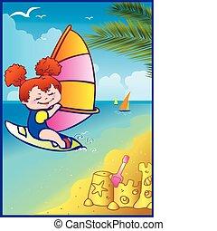 Weekend. - Weekend at the ocean beach. Sports girl...