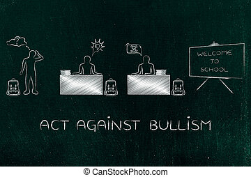 prevent bullism: students with bad reactions against each...