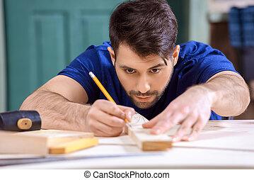 集中, 工作, 木制, 拿, 措施, 木匠, 板條
