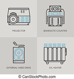 Detailed thin line icons for business. - Unique detailed...