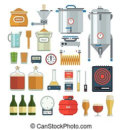 Home brewing process items. All you need for brew home made...