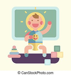 Cute baby playing. Geometry flat illustration - Cute baby...