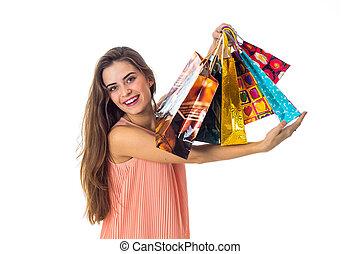 袋, 上げられた, 贈り物, 隔離された, の上, 明るい, うれしい, 背景, 白, 女の子