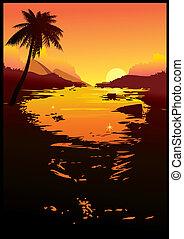 Sunset. - Beautiful sunset. Sea landscape. Vector...