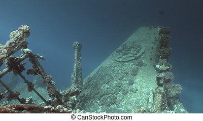 Part of a sunken ship Salem Express underwater in the Red...