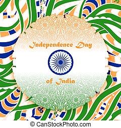 Independence Day of India. Openwork ornamental mandala on...