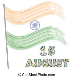 Independence Day of India. Concept with watercolor flag and...