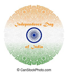 Independence Day of India. Background with patterned mandala...